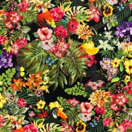 Tissu Poppy Oeko-Tex Coton Flower parade - multi fond noir x 10cm