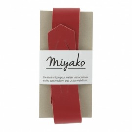Miyako leather handle - red
