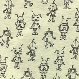 Tissu Poppy Oeko-Tex jersey Robotic - écru chiné x 10cm