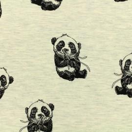 Tissu Poppy Oeko-Tex jersey Panda dream - écru chiné x 10cm
