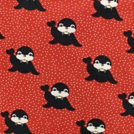 Tissu Poppy Oeko-Tex jersey Icelandic Seal - rouge fraise x 10cm