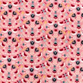 Tissu Oeko-Tex Poppy velours milleraies Bird world - rose x 10cm