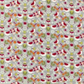 Tissu Oeko-Tex Poppy velours milleraies Bird world - gris clair x 10cm