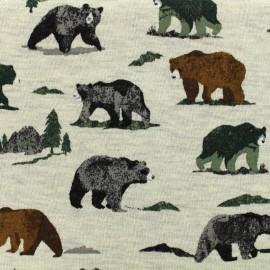 Tissu Poppy Oeko-Tex sweat léger Grizzly bear - ecru chiné x 10cm