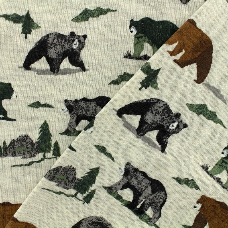 5d97c8bc0f4 Poppy light sweat Grizzly bear fabric - ecru x 10cm - Ma Petite Mercerie
