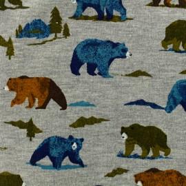 Tissu Poppy Oeko-Tex sweat léger Grizzly bear - gris chiné x 10cm