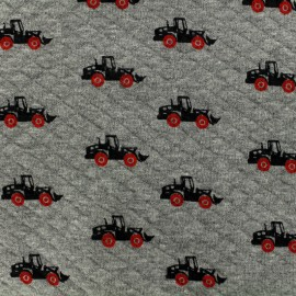 Oeko-Tex Poppy Quilted jersey fabric Diamonds 10/15 - grey x 10cm