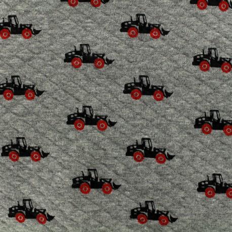 Oeko-Tex Poppy Quilted jersey fabric Diamonds 10/15 - grey x 10cm