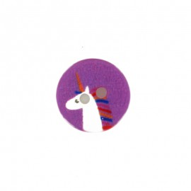 13 mm polyester unicorn button - pink