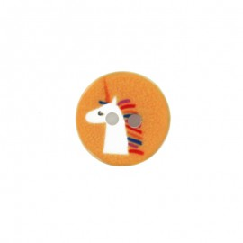 13 mm polyester unicorn button - yellow