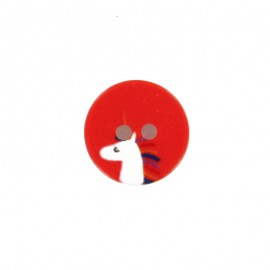 Bouton polyester Licorne 13 mm - rouge