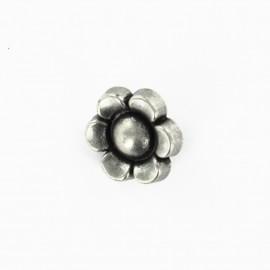 Bouton métal fleur - vieil argent