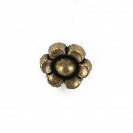 Metal flower button - ancient silver