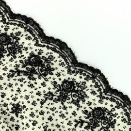 Tissu viscose festonné petite fleur - noir x 10 cm