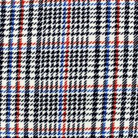 Tissu Jersey crêpe Ecossais - bleu/rouge/noir sur fond blanc x 10cm
