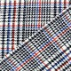 Scotich Jersey Crepe Fabric - blue/red/black on white background x 10cm