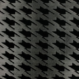 Rooster foot Jacquard fabric - black and silver x 10cm