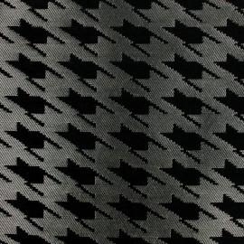 Tissu Jacquard Pied de coq - noir sur argent  x 10cm