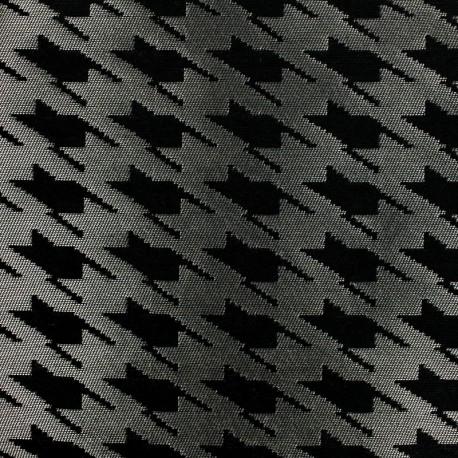 tissu jacquard d 39 ameublement tissu jacquard pied de coq argent mpm. Black Bedroom Furniture Sets. Home Design Ideas