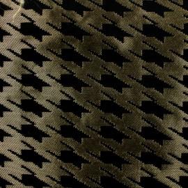 Tissu Jacquard Pied de coq - noir sur doré  x 10cm