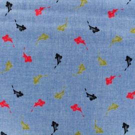 Fluid jeans fabric Koi carp - blue x 10cm