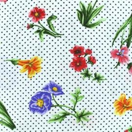 Tissu Viscose petites étoiles grandes fleurs - blanc x 10cm