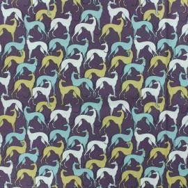 Cotton poplin fabric galgos - purple x 10cm