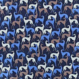 Cotton poplin fabric galgos - navy x 10cm