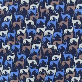 Tissu coton popeline lévrier- navy x 10cm