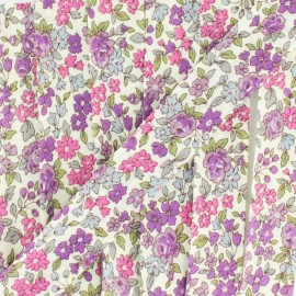 Flowered Bias binding C11 - ecru/purple/fuchsia/green/sky blue