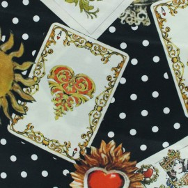 Tissu soie Tarot mystique - noir  x 10cm
