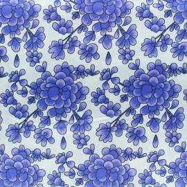 Tissu soie Blossom - bleu x 10cm