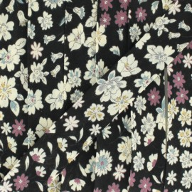 Biais fleuri C9 - noir x 1m
