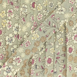 Flowered Bias binding C2 - ecru/grey beige/blue/fuchsia/yellow/brown