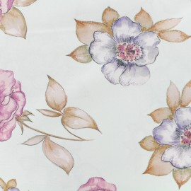 Satined poplin Fabric Wild roses flowers - powder pink x 10cm