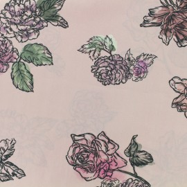 Satined poplin Fabric Summer flowers - old pink x 10cm