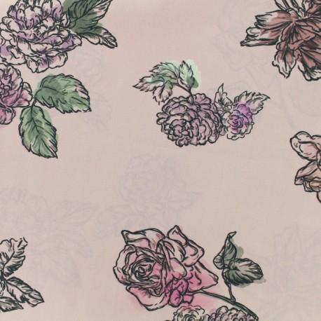 Satined poplin Fabric Summer flowers - old pink x 10cm