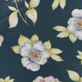 Satined poplin Fabric Wild roses flowers - black with blue tone background x 10cm