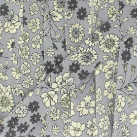 Biais fleuri C6 - gris x 1m