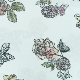 Satined poplin Fabric Summer flowers - white x 10cm