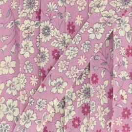 Biais fleuri C1 - rose x 1m