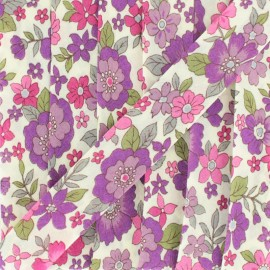 Flowered Bias binding C12 - pink/purple x 1m