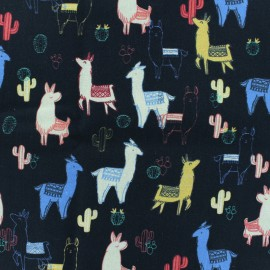Cotton percal fabric llama - black x 10cm