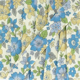 Biais fleuri C16 - bleu/beige x 1m