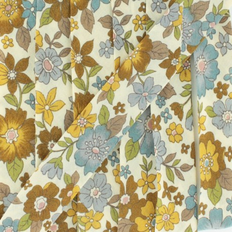Biais fleuri C18 - marron/ocre x 1m