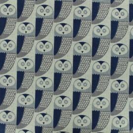 Tissu lin Dashwood Owl - gris x 10cm