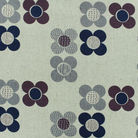 Linen fabric Flowers - grey x 10cm
