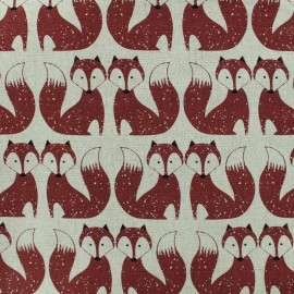Linen fabric Foxes - red x 10cm