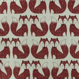 Tissu lin Dashwood Foxes - brique x 10cm