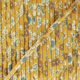 Flowered Bias binding C22 - mustard x 1m